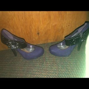 Purple/black Mary Jane style heels